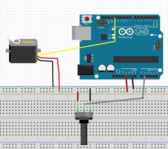Arduino Potansiyometre ile Servo Motor Kontrolü Bağlantı Şeması
