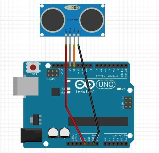 Arduino Hc-Sr04 Mesafe Sensörü Bağlantı Şeması