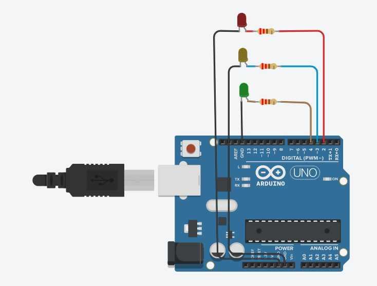 Arduino ile Trafik Lamba Devre Şeması