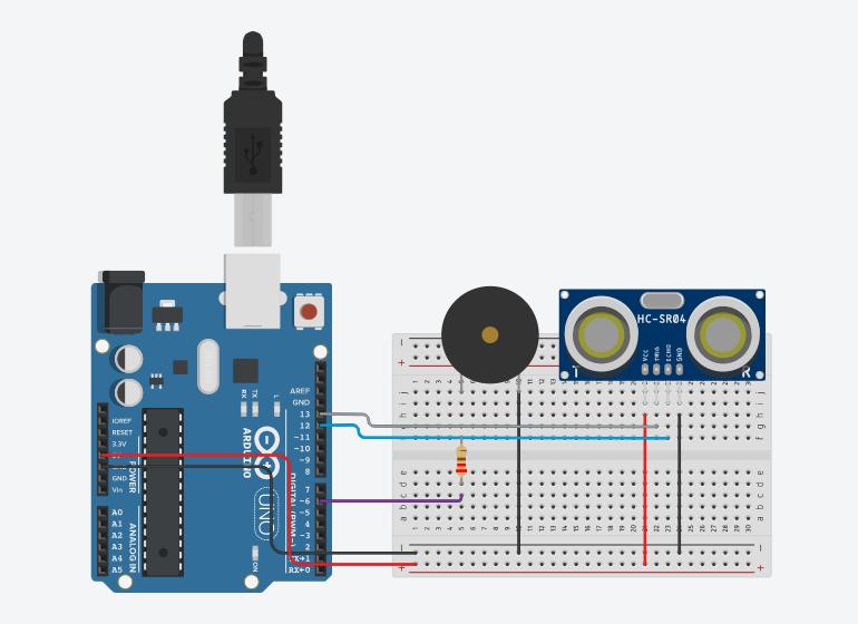 Arduino ile Park Sensörü Devresi Bağlantı Şeması