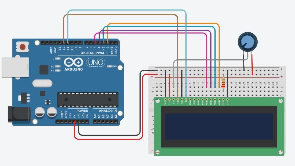 Arduino ile 16x2 Lcd Ekran Kullanımı Bağlantı Şeması