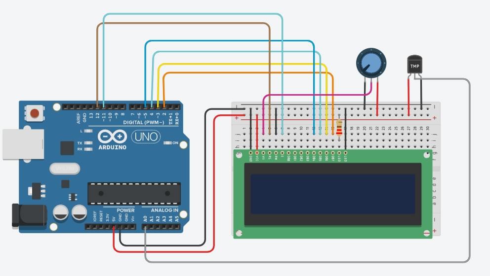 Arduino ile Termometre Yapımı Bağlantı Şeması