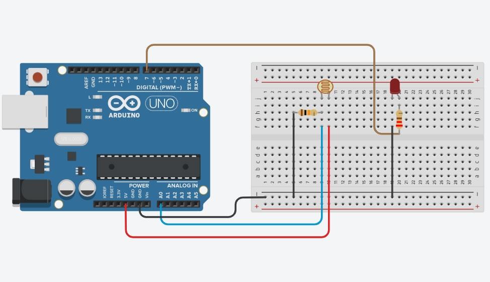 Arduino ile Karanlıkta Yanan Led Bağlantı Şeması